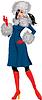 Morena hermosa mujer vestirse con traje azul | Ilustración vectorial