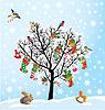 Winter-Baum mit Vögeln, Eichhörnchen, Weihnachten Schuhe, Süßigkeiten