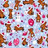 Nahtlose Muster mit Teddybären, Schneeflocken und