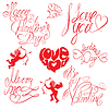 Set von Hand geschriebenen Text: Happy Valentine `s Day, I