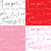 Набор бесшовные модели с сердцем и текст: Я | Векторный клипарт