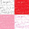 I : 마음과 텍스트 원활한 패턴 집합 | Stock Vector Graphics