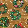Weihnachten und Neujahr nahtlose Muster mit Kranz