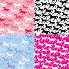 Set von nahtlosen Mustern mit wilden Pferden
