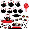 Set von asiatischen Lebensmittel-Icons - Teekanne, sushi