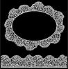 Lace marco ovalado y banda sin fisuras. Blanco Vintage | Ilustración vectorial