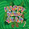 Abstrakt Frohes Neues Jahr grünem Hintergrund mit Tanne