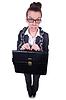 Женщина в цепях с портфелем | Фото