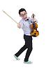 Lustiger Mann mit Geige | Stock Foto