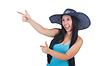 Kobieta ubrana panama gotowe do letnich wakacji | Stock Foto