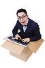 ID 3939405 | Śmieszne komputerowym maniakiem siedzi w oknie | Foto stockowe wysokiej rozdzielczości | KLIPARTO