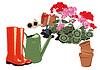 Kwiaty w ogrodzie buty gumowe i pojenia | Stock Vector Graphics