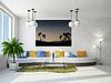 Pokój dzienny z dużym kanapie | Stock Illustration