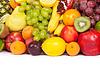 Große Gruppe von frischen Früchten auf weißem | Stock Foto