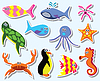 Reihe von bunten Meerestiere