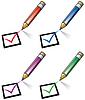 Bleistifte und Checkliste
