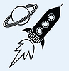 Rakete und Planeten Saturn Symbole