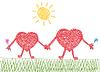 valentine Zeichnung von zwei Herzen in der Liebe
