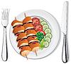 gegrilltes Hähnchen, Gemüse auf Teller, Gabel und Messer