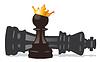 Chess Pawn mit goldener Krone und besiegte König