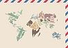 Vintage Umschlag mit Weltkarte von Landmarken gemacht