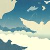 Tauben im Sommer Himmel mit Wolken