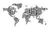 世界地图。由许多人剪影 | 向量插图