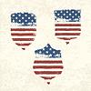 Schildförmige amerikanische Flagge.