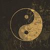Yin Yang Symbol Grunge. Mit textur