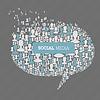 Social Media Blase Rede Konzept.