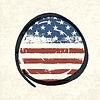 垃圾美国国旗为主题的按钮美国国旗。 | 向量插图