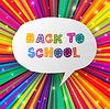 Back to school Worte in Sprechblase auf bunten