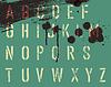 垃圾滴和条纹模板字母。 , | 向量插图