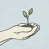 Hände mit grünen Spross und Schmutz Haufen. Hand gezeichnet
