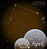 Kalender von Sternzeichen Widder | Stock Vektrografik