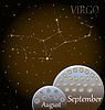 Kalender von Sternzeichen Jungfrau | Stock Vektrografik