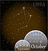 Kalender von Sternzeichen Waage | Stock Vektrografik