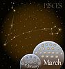 Kalender von Sternzeichen Fische | Stock Vektrografik