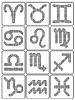 Set von Tierkreiszeichen in Form von pixel Sterne