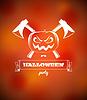 Halloween-Plakat mit Kürbis und Achsen