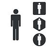 Mann Icon-Set, Schwarz-Weiß