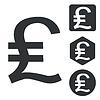 Britisches Pfund icon set, monochrome