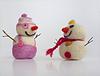 Zwei lustige Schneemänner | Stock Foto