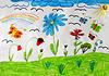 Children `s Zeichnung mit Schmetterlingen und Blumen | Stock Illustration
