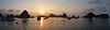 日落全景下龙湾, | 免版税照片