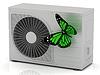 Grüner Schmetterling sitzt auf der Straße Conditioner | Stock Illustration