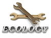 Inscripción ECOLOGY- de letras de metal y 2 llaves | Ilustración