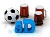 3D 밝은 단어, 축구, 3 컵 맥주 | Stock Illustration