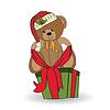 niedlichen Teddybären mit großen Weihnachts-Geschenk-Box