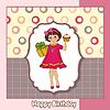 Geburtstags-Grußkarte mit Mädchen und große Kuchen